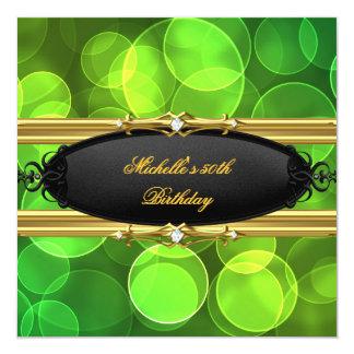 Diamante negro de la cal de cumpleaños del oro invitación 13,3 cm x 13,3cm