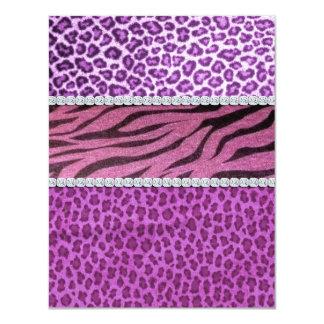 Diamante púrpura femenino lindo del estampado de invitación 10,8 x 13,9 cm