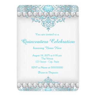 Diamante Quinceanera de la turquesa y de la plata Invitación 12,7 X 17,8 Cm