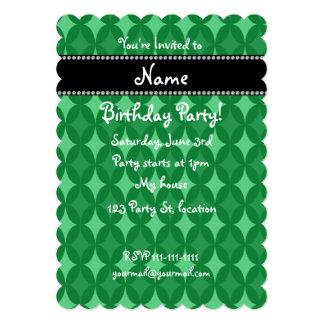 Diamante verde retro conocido personalizado del invitación 12,7 x 17,8 cm