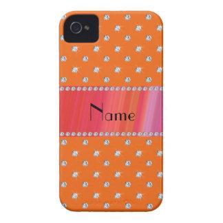 Diamantes anaranjados conocidos personalizados iPhone 4 Case-Mate protectores
