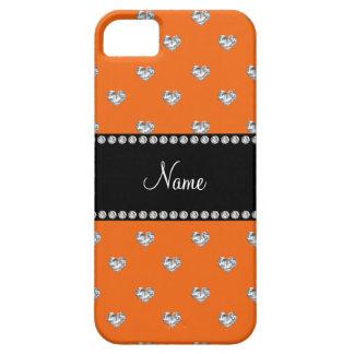 Diamantes anaranjados personalizados del corazón iPhone 5 Case-Mate funda