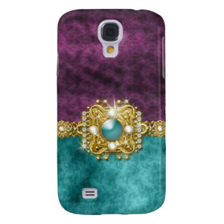 Diamantes bling el damasco de las gemas del trullo samsung galaxy s4 cover