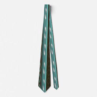 Diamantes de la turquesa, plumas y lazo de las corbatas personalizadas