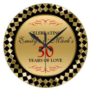 Diamantes del oro y aniversario de los remolinos reloj redondo grande
