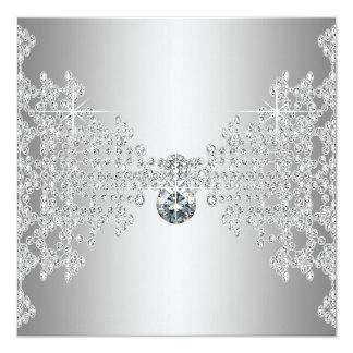 Diamantes elegantes y bodas de plata invitación 13,3 cm x 13,3cm