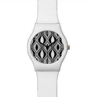 Diamantes modernos, negro, blanco y gris de los relojes de pulsera