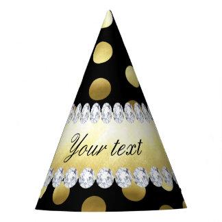 Diamantes negros de los lunares de la hoja de oro gorro de fiesta