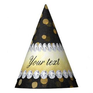 Diamantes negros del confeti del oro de la pizarra gorro de fiesta