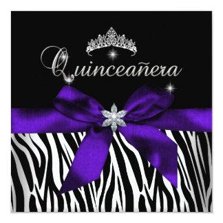 Diamantes púrpuras del blanco del negro de la invitación 13,3 cm x 13,3cm