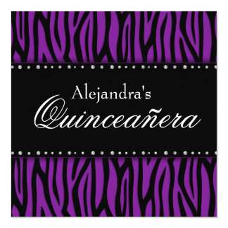 Diamantes púrpuras Quinceanera de la cebra Invitación 13,3 Cm X 13,3cm