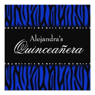 Diamantes Quinceanera de la cebra del azul real Invitación 13,3 Cm X 13,3cm