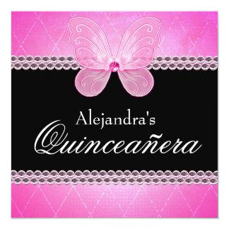 Diamantes Quinceanera rosado de la mariposa Invitación 13,3 Cm X 13,3cm