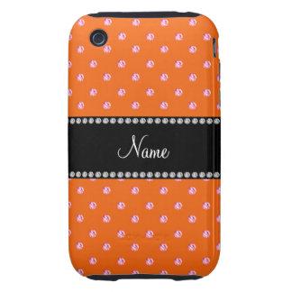 Diamantes rosados anaranjados conocidos tough iPhone 3 cárcasas
