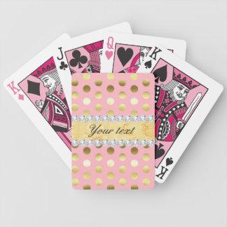 Diamantes rosados de los lunares de la hoja de oro baraja de cartas bicycle