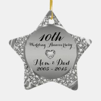 Diamantes y 10mo aniversario de boda de la plata 2 ornato