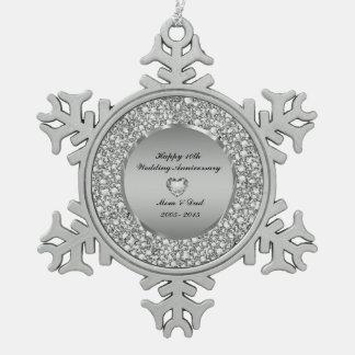Diamantes y 10mo aniversario de boda de la plata adornos