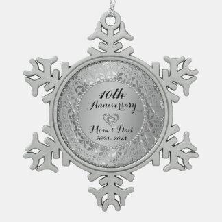 Diamantes y 10mo aniversario de boda de la plata adorno