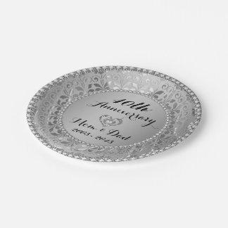 Diamantes y 10mo aniversario de boda de la plata platos de papel