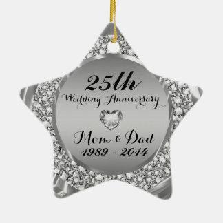 Diamantes y 25to aniversario de boda de la plata 2 adorno de cerámica en forma de estrella