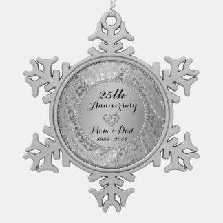 Diamantes y 25to aniversario de boda de la plata adorno