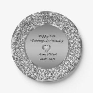 Diamantes y 25to aniversario de boda de la plata platos de papel