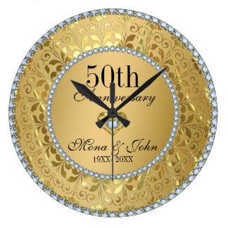 Diamantes y aniversario de boda del oro 50.o reloj redondo grande