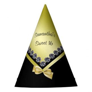 Diamantes y dulce brillantes 16 del arco del oro gorro de fiesta