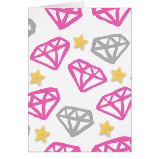 Diamantes y estrellas tarjeta de felicitación