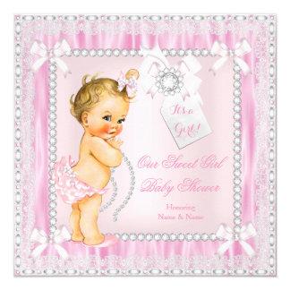 Diamantes y fiesta de bienvenida al bebé rubia invitación 13,3 cm x 13,3cm