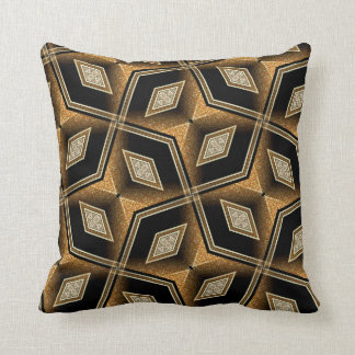 Diamond Illusion Black Gold Abstract Cushion Pillow