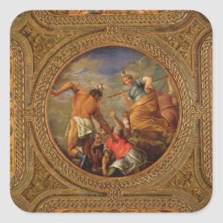 Diana y Actaeon, del techo de la biblioteca Calcomanias Cuadradas