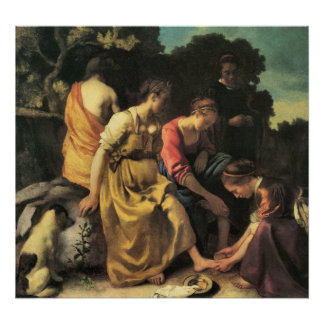 Diana y sus ninfas de Juan Vermeer Poster
