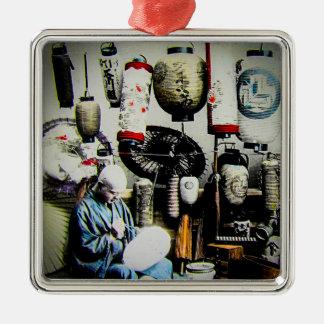 Diapositiva de linterna mágica el pintor Japón Adorno Navideño Cuadrado De Metal