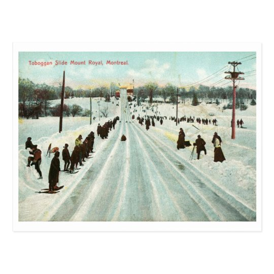 Diapositiva del trineo largo, vintage de Montreal Postal