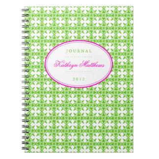 Diario afiligranado verde del óvalo de las rosas f libreta espiral