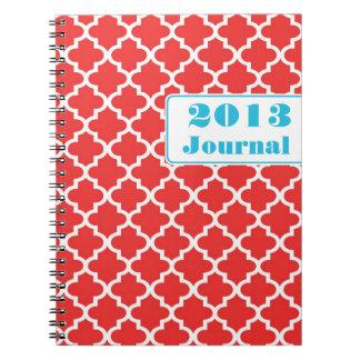 Diario anual de moda de la teja marroquí del rojo  libros de apuntes con espiral