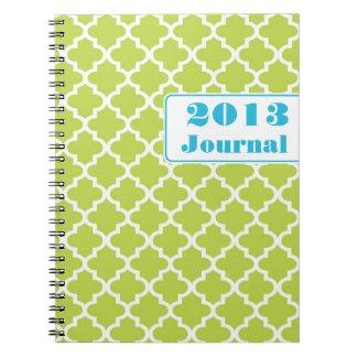 Diario anual de moda de la teja marroquí del verde cuadernos
