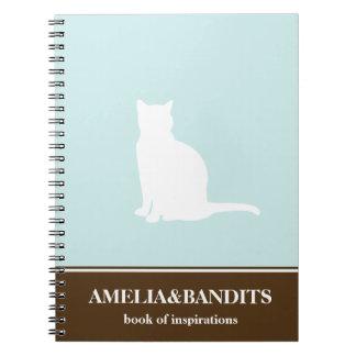 Diario azul de la inspiración del gato de la silue cuadernos
