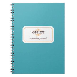Diario azul de la inspiración del trullo anaranjad libro de apuntes