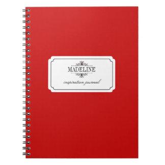 Diario de encargo negro rojo de la inspiración de  libros de apuntes con espiral