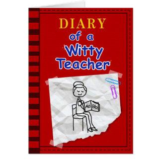 Diario de la tarjeta de profesor ingeniosa