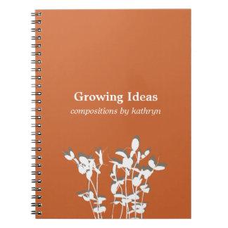 Diario de notas anaranjado moderno creciente de la cuaderno