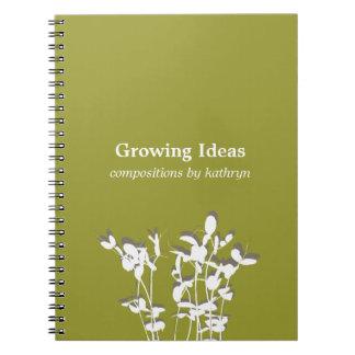 Diario de notas verde moderno creciente de la idea libreta espiral