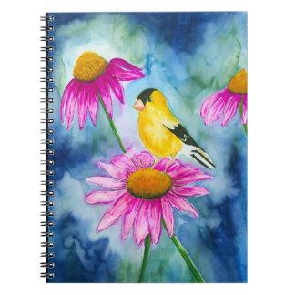 Diario del goldfinch de la acuarela y de la flor libreta espiral