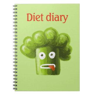 Diario divertido de la dieta del bróculi del cuaderno