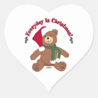 ¡Diario es el navidad! Oso de ChristmasTeddy Calcomanías Corazones