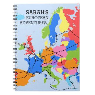 Diario europeo personalizado colorido del viaje de cuaderno