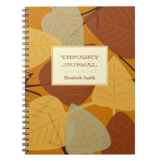 Diario personal dispersado moderno del otoño de la cuadernos