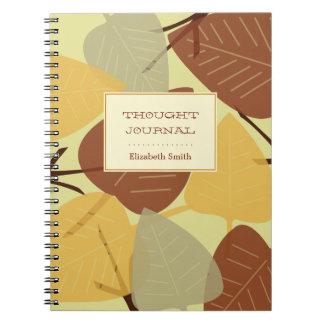 Diario personal dispersado moderno del otoño de la libros de apuntes con espiral